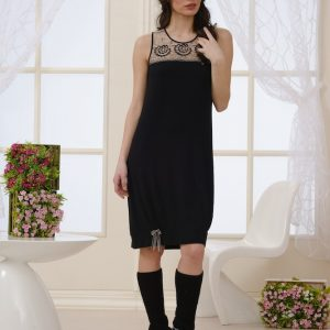 SHORT BALLOON-DESIGN MODAL NIGHTIE BLACK
