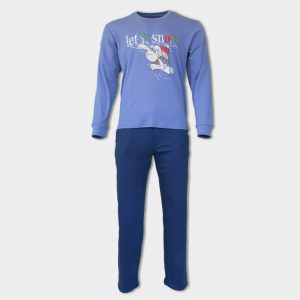 Мъжка коледна пижама в син цвят