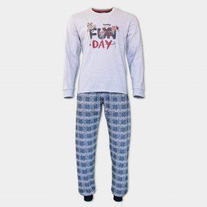 мъжка коледна пижама в сиво