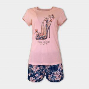 Лятна пижама със сатенени панталонки
