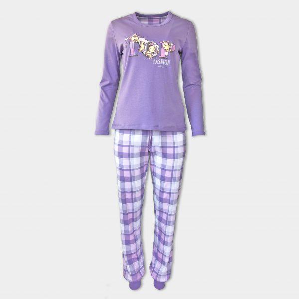 Памучна пижама аффект в лилав цвят