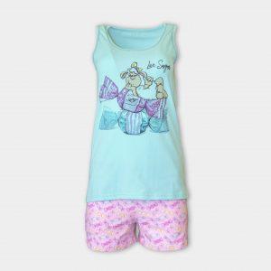 Лятна пижама с потник с принт на бонбони и овца