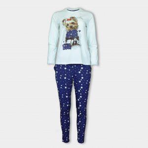 Светеша пижама на звездички с принт на кученце