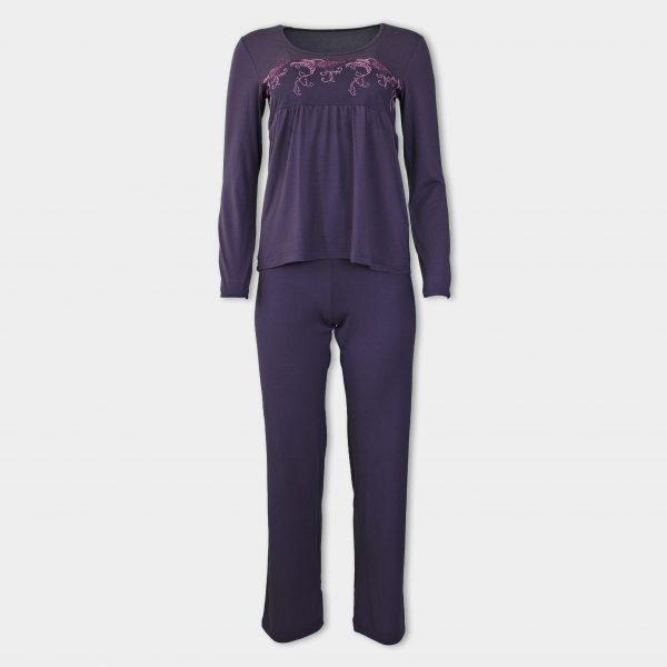 Дамска пижама от микромодал с дантела под бюста