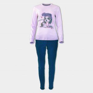 Дамска пижама в лилаво със сладко кученце