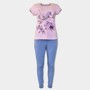 Дамски комплект за спане с тениска и дълъг панталон