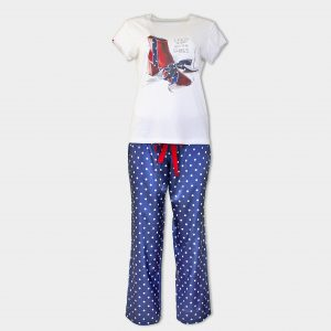 Пижама с дълъг сатенен панталон