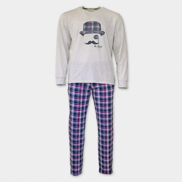 Тънка есенна пижама с дълги ръкави