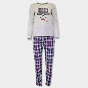 Есенна дамска пижама от памук-модал