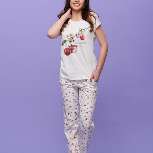"Ladies sleep set with long bottoms ""Cherry Blossom"""