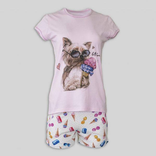 "Дамска лятна пижама ""Yorkie loves ice cream"""