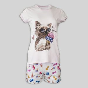 "Women`s Pajamas ""Yorkie loves ice cream ecru"""